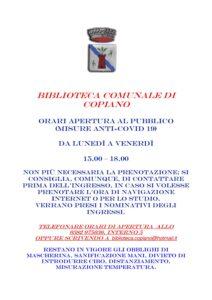 BIBLIOTECA COMUNALE DI COPIANO ORARI MISURE ANTI-COVID