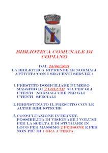 BIBLIOTECA COMUNALE DI COPIANO PRESTITO DOMICILIARE COVID 19
