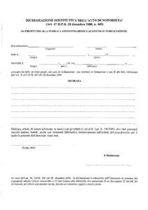 Dichiarazione sostitutiva atto notorieta'