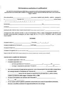 Dichiarazione sostitutiva certificazioni