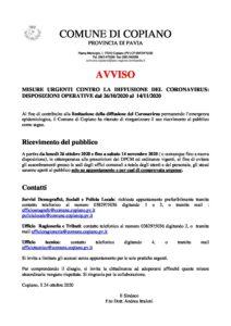 avviso-MISURE-URGENTI-CONTRO-LA-DIFFUSIONE-DEL-CORONAVIRUS-1